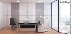 Paredes #panelux de @luxebyalvic. Ambiente de #trabajo de alto brillo y #calidad #Alvic.  #interiorismo, #decoración, #oficina, #muebles