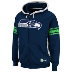 low priced 19560 02362 Seattle Seahawks Intimidating V Full Zip Hoodie - College Navy