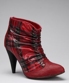 Red Plaid Brindal Bootie