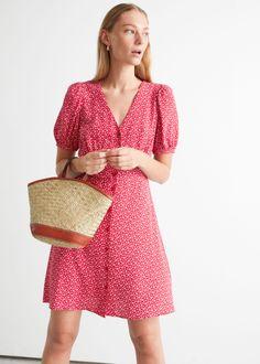 Printed Buttoned Mini Dress - Red Print - Mini dresses - & Other Stories GB