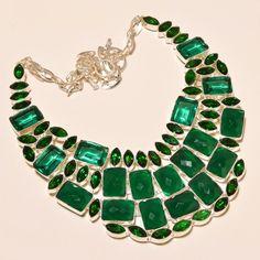 "Sakota Mine Emerald,Apatite Quartz,Chrome Diopside925Silver Jewelry Necklace 18"""