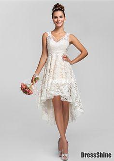 A-line/Princess V-neck Asymmetrical Lace Bridesmaid Dress - Bridesmaid Dresses - Wedding Party Dresses