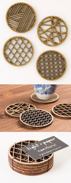 Light & Paper's bamboo coasters bring a low-key layer of functional – and protective – artwork to your beverage-bearing surfaces. Each set features four unique, geometric designs based on hand-cut paper designs by artist Ali Harrison.