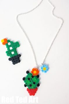 Summer Jewelry for kids - make some Cactus Perler Bead Patterns. Too cute.