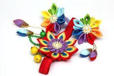 Conjunto de kanzashi de arco iris. Una diadema y 2 por FlosMollis