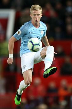 Oleksandr Zinchenko of Manchester City jumps to control the ball during the Premier League match between Manchester United and Manchester City at Old Trafford on April 2019 in Manchester, United. Get premium, high resolution news photos at Getty Images Manchester England, Manchester City, Manchester United, Zen, Premier League Matches, April 24, Old Trafford, Soccer Players, Sexy Men