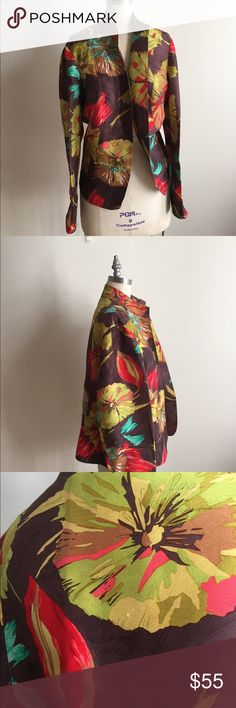 Beautiful Silk Cocoa Floral Jacket! Chic and great condition! Just some minor scratches as in pics many are natural occurrences is rich raw silk. Measures 48 bust and waist and 26 from top to bottom. Coldwater Creek Jackets & Coats Blazers