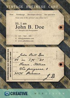 Vintage ticket Business Card, repinned by www.BlickeDeeler.de