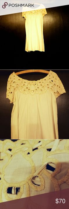 French Connection embroidered cotton lace dress Cream colored , loose fitting , 100% airy cotton lawn . Below knee length looks great belted . French Connection Dresses Midi