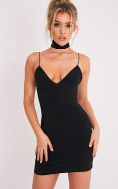 Ayishah Black Slinky Strappy Plunge Bodycon Dress - Dresses - PrettylittleThing   PrettyLittleThing USA