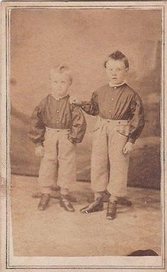 Antique-Post-Mortem-Two-Little-Boys-Floor-Stands-Victorian-Death-Cabinet-Photos.