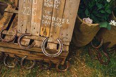 Wedding ideas. Taken from a Happy Valley wedding. Signage. Diy Wedding in North Norfolk. Horse Shoes. pallet signs. hello@happyvalleynorfolk.co.uk instagram - @HappyVNorfolk
