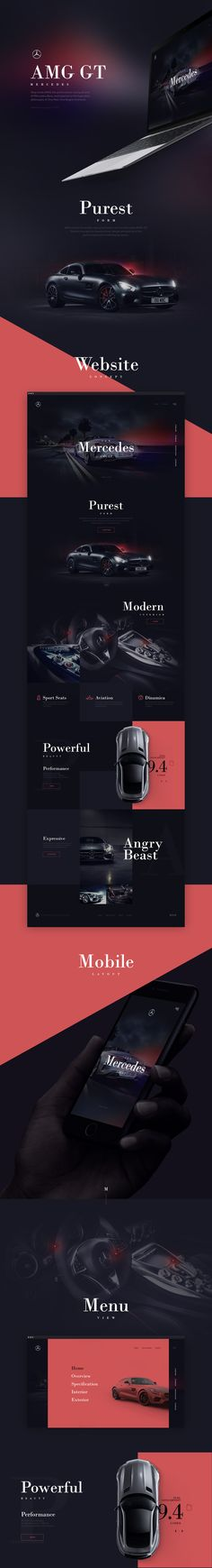 Concept landing page for Mercedes AMG GT.