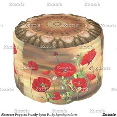 Abstract Poppies Sturdy Spun Polyester Round Pouf