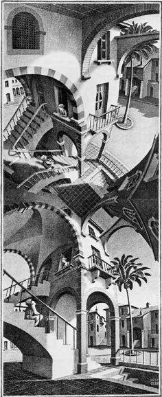 'Blickwinkel' / Boven en onder / High and low / Oben und unten, Lithografie von Maurits Cornelis Escher (1898-1972, Netherlands)