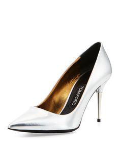 Tom Ford Low-Heel Pointed-Toe Metallic Pump, Silver