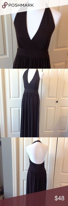 Brown maxi halter dress Wrap around halter. 62% polyester 33% rayon 5% spandex. Worn once. Long Elegant Legs Dresses Maxi