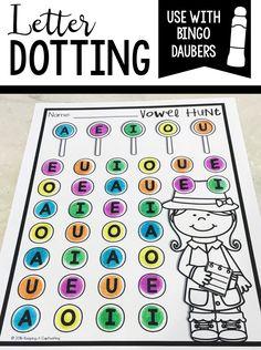 Make letter recognition fun by using bingo daubers