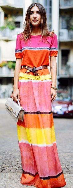 Striped tee and maxi skirt in bright colors perfect for spring