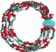 New Fashion Long Multi Strands Red Coral and Turquoise Chips Necklace with Turquoise Clasp  Free shipping