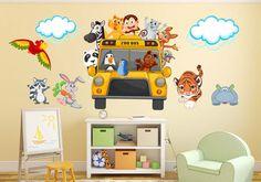Animals Safari School Bus Wall Decal