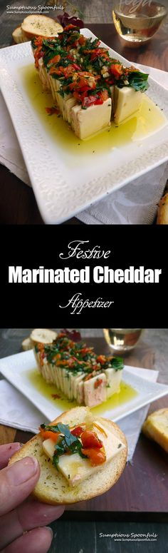 Festive Marinated Cheddar Cheese Appetizer ~ Sumptuous Spoonfuls #holiday #appetizer #recipe