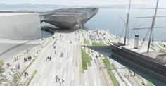 Kengo Kuma, a Japanese architect has won the competition to design the new V&A Museum at Dundee, Scotland. Kengo Kuma's proposal beat the other 6 proposals Museum Plan, V & A Museum, Kengo Kuma, Dundee Waterfront, Dundee City, Landscape Arquitecture, Win Competitions, School Architecture, Ancient Architecture