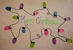 Fingerprint Christmas Lights - all it takes is an ink pad or paint and a sharpie.