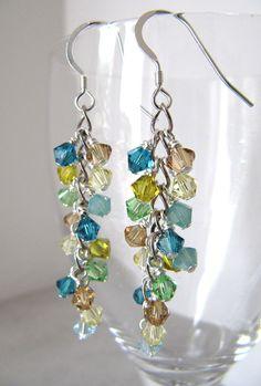Lagoon Shower cluster earrings – Swarovski crystals, Sterling Silver - new season bijouterie Swarovski Crystal Earrings, Crystal Jewelry, Wire Jewelry, Jewelry Crafts, Beaded Jewelry, Jewellery Box, Jewellery Shops, Temple Jewellery, Pandora Jewelry