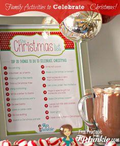 20 Fun Ways To Celebrate Christmas! {free printable} by Tip Junkie