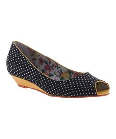 Another great find on #zulily! Black Polka Dot Face the Music Peep-Toe Wedge #zulilyfinds