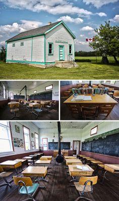 Horod, Manitoba one room prairie school house. Historical site that has been restored. Prairie School, Bathing Costumes, Historical Sites, Restoration, Homeschool, Sweet Home, Canada, Victorian, Cabin