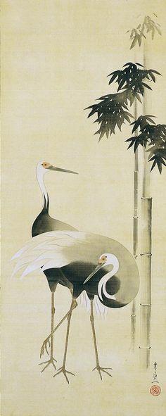 Suzuki Kiitsu(鈴木其一 Japanese, 1796-1858)    Cranes beside bamboo  竹鶴図 #brushpainting #fineline #Ink and Wash Painting #Chinese Art #Japanese Art #piel #shoppiel #inspiration