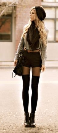 How to wear shorts in the winter with a beret, scarf and over-the-knee-socks! Soo cute.