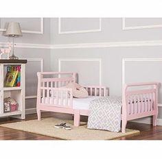 Wood Toddler Bed Pink Safety Rails Nursery Room Bedroom Furniture Girls Kids #WoodToddlerBed
