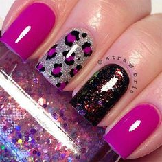 Fabulously elegant pink glitter nail art is shared during this footage . This fantastic nail art is beautified with black color designed straps. These stra Best Acrylic Nails, Acrylic Nail Designs, Nail Art Designs, Nails Design, Cheetah Nail Designs, Acrylic Colors, Neon Colors, Fabulous Nails, Gorgeous Nails