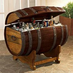 Whiskey barrel ice chest
