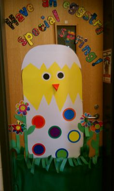 Chick with CTP poppin patterns accents Preschool Bulletin, Preschool Crafts, Happy Birthday Flower, School Doors, Classroom Door, Easter Crafts For Kids, Art For Kids, Door Ideas, Bulletin Boards