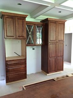 "Kitchen in progress - Medallion ""Brookhill"" Maple Rumberry Wall Oven Cabinet and Storage Area"