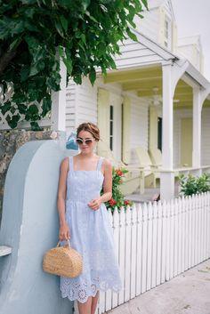 Gal Meets Glam Island Blue -Sea New York dress, Seagrass bag & Gucci sunglasses.