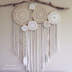 Busy working on all your custom order wall murals and Dreamcatchers today! Have a huge line up and we are doing our best to get them… Dreamcatcher Crochet, Deco Boheme Chic, Boho Chic, Doily Dream Catchers, Diy And Crafts, Arts And Crafts, Doilies Crafts, Creation Deco, Diy Art