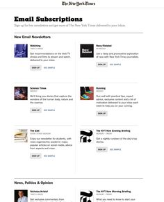 See sample email newsletters - http://www.nytimes.com/newsletters
