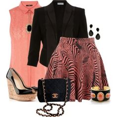 Coral and Black Outfit