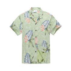 d883c67d89c Men s Hawaiian Shirt Aloha Shirt in Light Green with Leaf