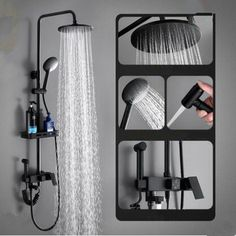 Antique Black Brass & ABS Bathroom Rainall Shower Tap Set With Shelf TF0268B Shower Taps, Shower Set, Waterfall Taps, Brass Shower Head, Plating Techniques, Low Water Pressure, Black Taps, Water Spout