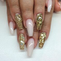 Frosted Pink + Gold Glitter + Gold Mylar Glitter Flakes Shattered Glass Long Coffin Nails #nail #nailart