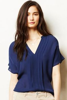 Pintucked Silk Top from Anthropologie Satin Cami Top, Silk Top, Camisole Top, Blouse Styles, Blouse Designs, Bluse Outfit, Business Casual Outfits, Work Attire, Cami Tops