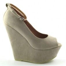 ESSEX GLAM C220 TAUPE SUEDE PLATFORM WEDGE ANKLE BOOTS    £19.99