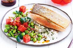 Curtis Stone's barbecued salmon with poké sauce and sushi-style rice