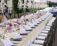 This Long #Reception Table is Absolutely #Beautiful! It's perfect for an intimate and #welcoming #seating #style for your guests. #LongReceptionTable #WeddingReception